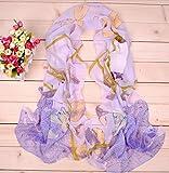 Onlineb2c Women Chiffon Long Scarf Lotus Birds Floral Soft Wrap Shawl Purple