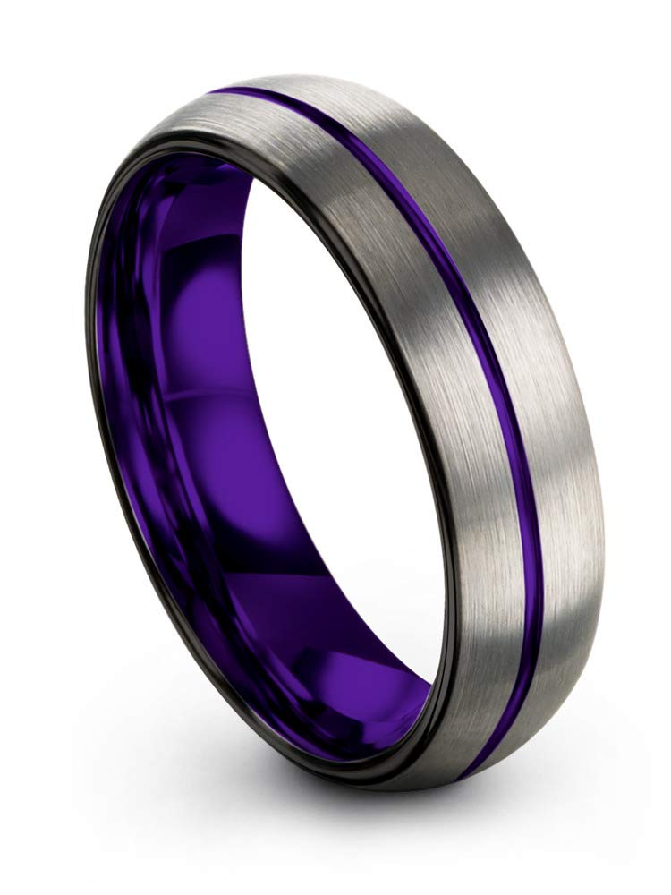 Chroma Color Collection Tungsten Wedding Band Ring 6mm for Men Women Purple Interior Purple Center Line Dome Black Grey Brushed Polished Size 8.5