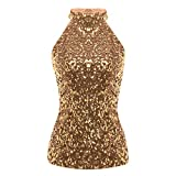 Dunacifa Women Tank Top Fashion Women's Shimmer Flashy All Sequins Embellished Sparkle Vest Tank Tops Gold