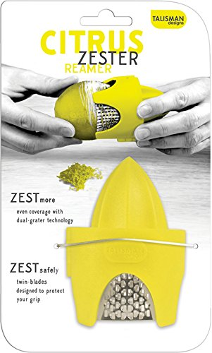 Talisman Designs 3115 Citrus Zester & Reamer, for Lemons and Limes BPA-free Plastic and Stainless Steel, Yellow