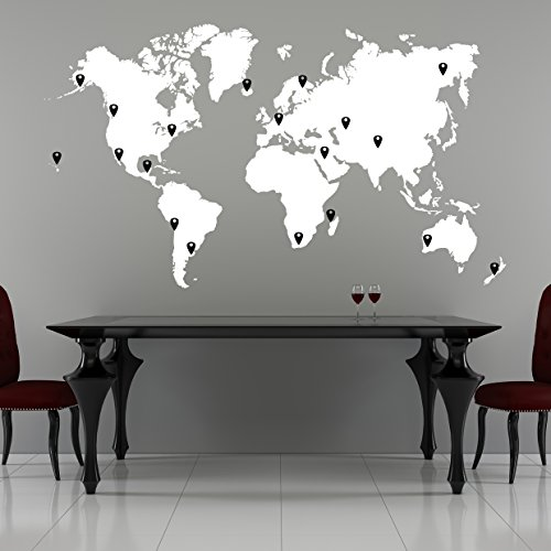 Stickerbrand World Map Wall Decal Sticker w/ 224 Pins - White Map w/Red, Black, White & Grey Pins, 40