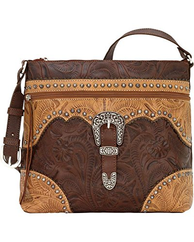 American West Women's Saddle Ridge Zip Top Shoulder Bag Chestnut One Size by American West