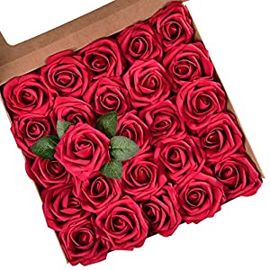 Artificial Rose Flowers with Stems, Real Looking Artificial Roses Bouquets, Artificial Foam Rose Flowers for DIY Wedding Bouquets Centerpieces Arrangements Party Baby Shower Home Decorations, 50 Pcs 14