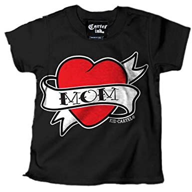Amazon.com: Cartel Ink Kids Mom Heart Tattoo T-Shirt Black ...