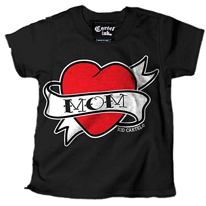 Amazon.com: Cartel Ink Kids Mom Heart Tattoo T-Shirt Black ...