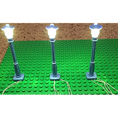 brickled Blue Lamp Post led Street Light for Lego USB Connected 3 Posts: Toys & Games
