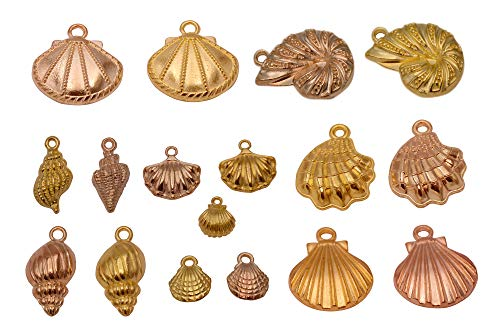 Yansanido 100 Gram Assorted Seashells Conch Gold DIY Antique Charms Pendant Mixed Charms Pendants Necklace Bracelet Wedding DIY Craft Making Accessory (100g Seashells Conch Gold) ()
