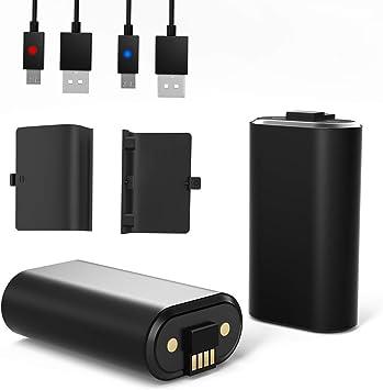 YCCTEAM - Batería para mando de Xbox One (2 unidades, 1200 mAh, batería recargable y cargador para Xbox One y Xbox One S, Xbox One X, Xbox One Elite): Amazon.es: Electrónica