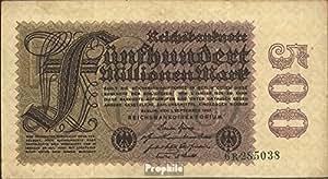 billetes para coleccionistas: alemán Imperio Rosenbg: 109b, Privatfirmendruck marca de agua Repollo usado 1923 500 millones marcos