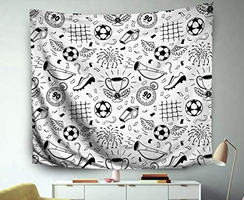 Asdecmoly 3D Tapestry, Tapestry Wall Hanging Living Room Bedroom 60 Lx50 W Inches Soccer Background Illustrati Football Wallpaper Pattern Your Art Printing Inhouse