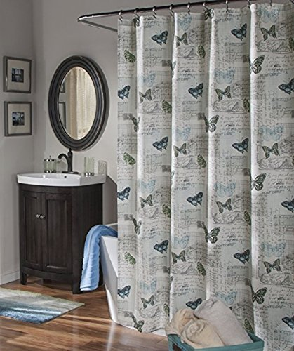 Airmail Blue Fabric Shower Curtain By MStyle 72quot