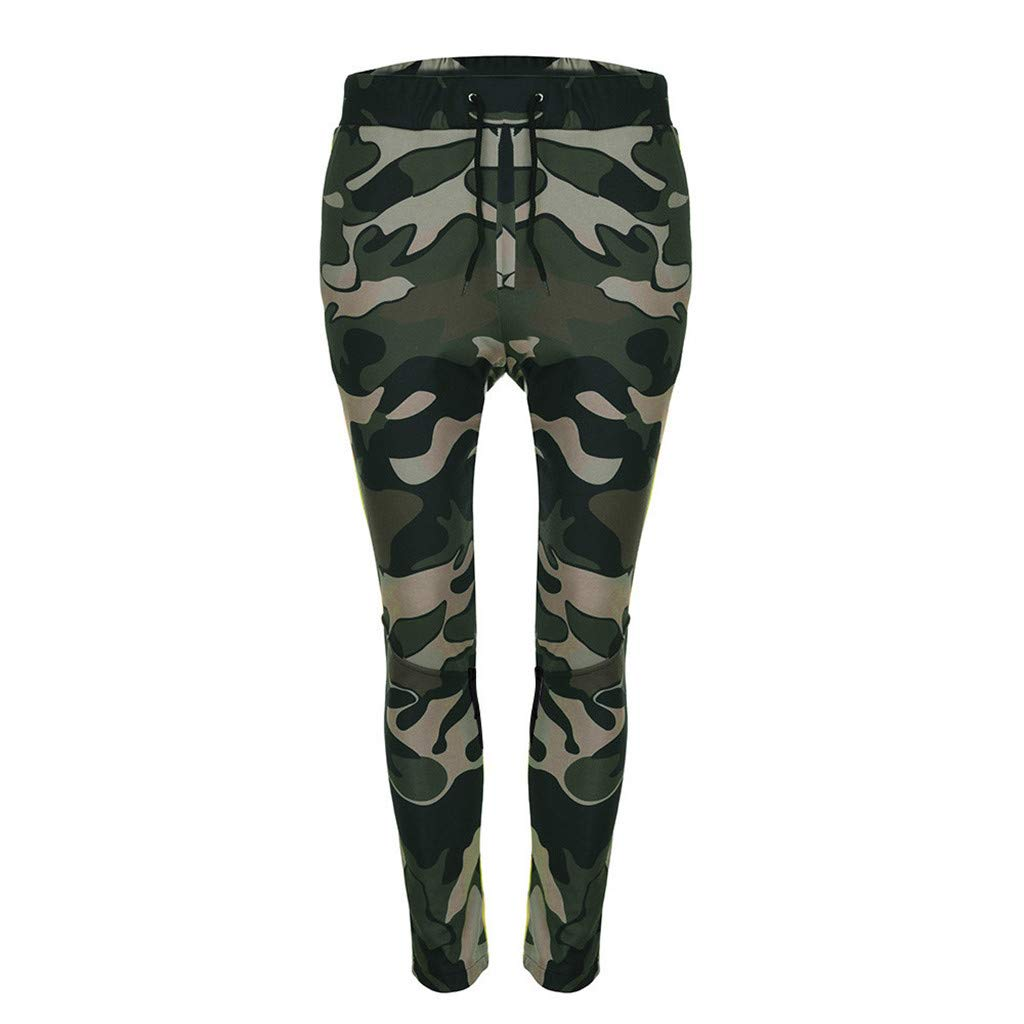 YOcheerful Men Sports Pants Mens Camouflage Overall Trousers Loose Fit Pocket Sweatpants Trendy Sportswear Trouser