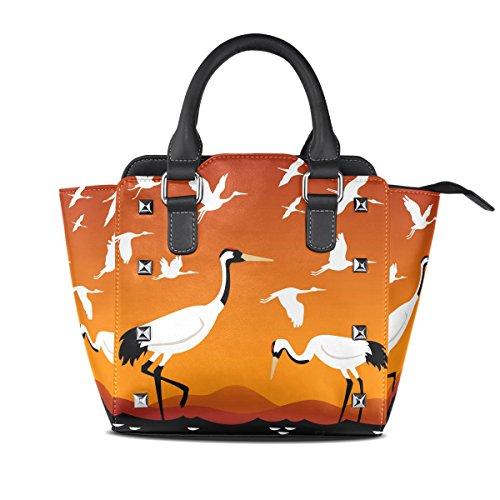 Coosun Donna Flying Cranes Borsa A Tracolla In Pelle Con Tracolla In Vera Pelle