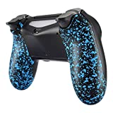 eXtremeRate Textured Blue Bottom Shell, Comfortable Non-Slip Back Housing, 3D Splashing Case Cover, Game Improvement Replacement Parts for PS4 Slim Pro Controller JDM-040, JDM-050 and JDM-055