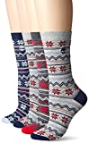 Timberland Women's Vintage Style Cotton Crew Sock 4-Pack Assorted, Grey Heather/Indigo/Charcoal/Grey Heather, One Size