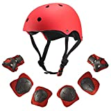 Dostar Kids Youth Adjustable 7Pcs Sports Protective Gear Set Safety Pad Safeguard (Helmet Knee Elbow Wrist) Roller Bicycle BMX Bike Skateboard Hoverboard and Other Extreme Sports Activities