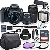 Canon EOS Rebel SL2 DSLR Camera 18-55mm & 75-300mm Lens (Black) Kit + Pro LED Light + Stereo Mic + Gadget Bag +3 Piece Filter Kit + Premium Accessory Bundle