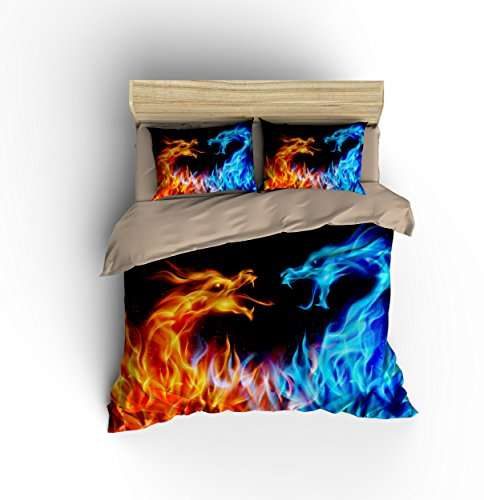 """Eye-catching Golden and Blue Dragon Cotton Microfiber 3pc 90""""x90"""" Bedding Quilt Duvet Cover Sets 2 Pillow Cases Queen Size"""
