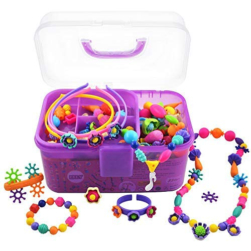 ERLY Pop Snap Beads Kit, Best Birthday Christmas Gift for 4, 5, 6, 7, 8 Year Old Little Girls, Art and Craft Fine Motor Skill Toy for Preschool Kids Age 3yr Up, Toddlers Bracelet Jewelry Making Set