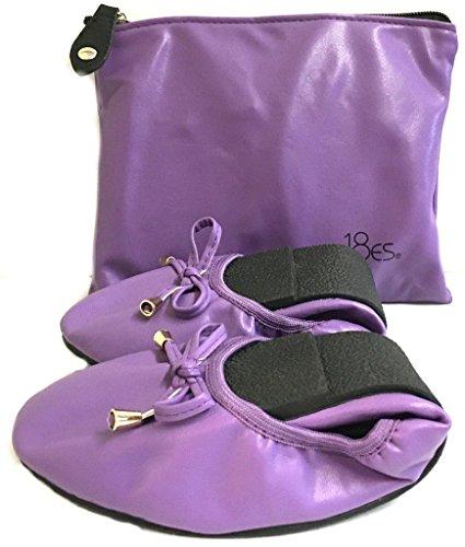 Schuhe 18 Frauen Faltbare Tragbare Reise Ballett Flache Schuhe w / Passender Tragetasche Violett 1180 A