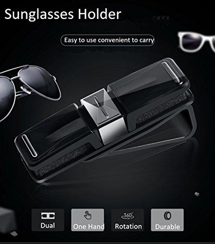 Car Glasses Holder, Car Visor Sunglasses Ticket Clip Holder, Double Sunglasses Mount Eyeglasses Clip Cash Money Card Holder for Auto Sun Visor/Air Vent, Boats Glasses Holder