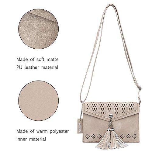 Women For Tassel Small Seosto Design Shoulder Purse 1 Phone Body Cell Apricot Bag Handbags Ladies Tassel Cross dww7qSR