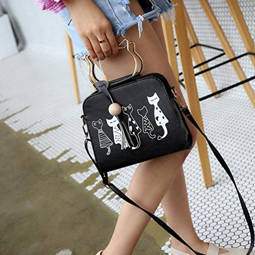 Messenger Printing Cat Yannerr Shoulder Crossbody Pattern Bag Animal Women Black Bag Bw5qXnwd6