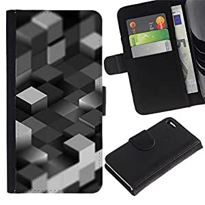 JackGot ( Bloques grises ) Apple Apple iPhone 4 / iPhone 4S la tarjeta de Crédito Slots PU Funda de cuero Monedero caso cubierta de piel