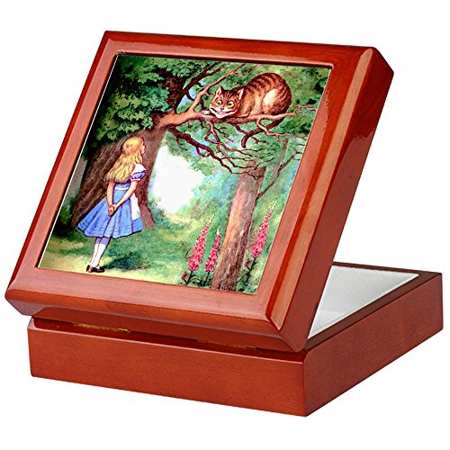 CafePress - Alice & The Cheshire Cat - Keepsake Box, Finished Hardwood Jewelry Box, Velvet Lined Memento Box
