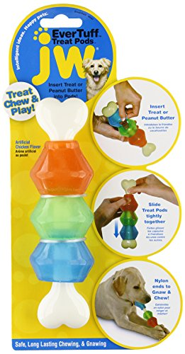 (JW Pet Company 46137 EverTuff Treat Pod Nylon Toys for Pets, Small, White Bone with Colored Pods of Orange, Green,)