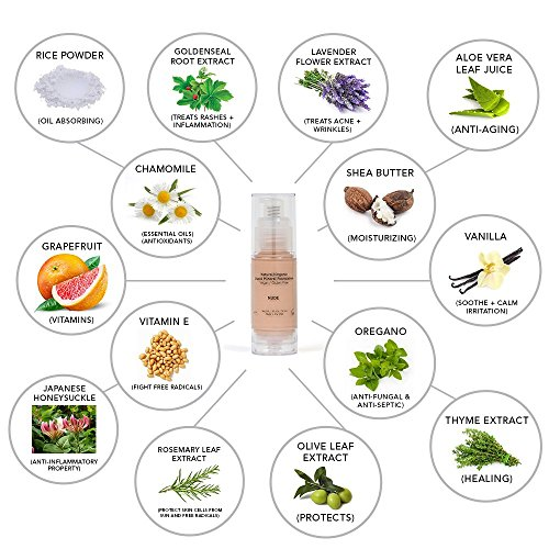 Light Liquid Mineral Foundation, Natural, Organic, Vegan, No Animal Cruelty, Gluten Free, Non GMO, No Palm, No Parabens, Natural Sunscreen SPF, Non Comedogenic, Hypoallergenic, Made in USA - Nude