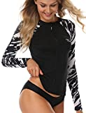 AXESEA Womens Long Sleeve Rash Guard Bathing Suits Printed UV Sun Protection Swim Shirt