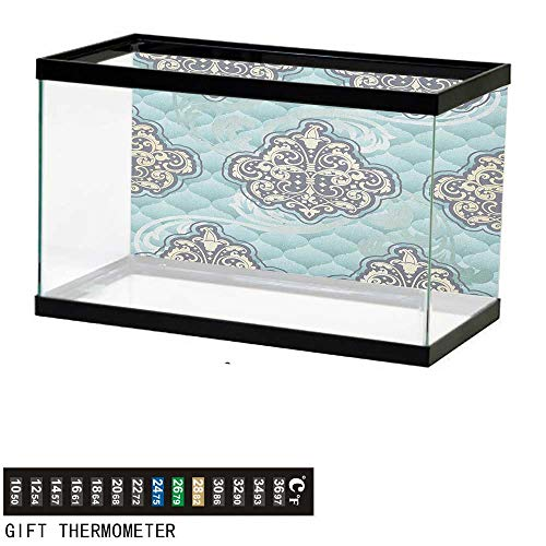 - Jinguizi VictorianFish Tank BackdropRococo Style Design Tiles Stylish Romantic Brocade Diamond Arabesque Swirls60 L X 24