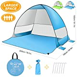 Large Pop Up Beach Tent - Portable Automatic Sun Shelter UV Protection Canopy Shade, Water-Resistant & Windproof Beach Umbrella with Carry Bag for Camping/Beach/Picnic/Hiking (3-4 Person)