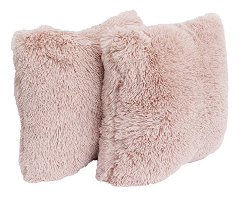 - Thro by Marlo Lorenz TH009182030E Chubby Faux Fur Pillow 2 Pack, Rose Smoke