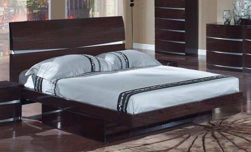Comfy Modern Platform Bed - Global Furniture Aurora Collection MDF/Wood Veneer King Bed, Wenge