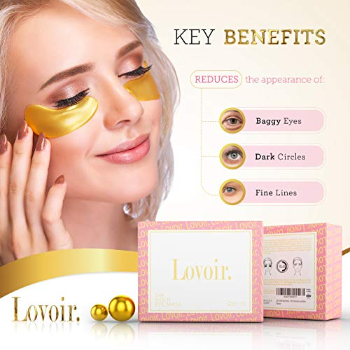 Under Eye Mask – By Lovoir, (15 Pairs) Collagen Treatment Gel Pads For Undereye Dark Circles, Puffiness And Wrinkles, 24k Gold Patches For Puffy Bags Under Eyes Suitable For Women And Men
