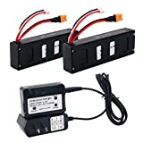 Reikirc 2pcs 7.4V 1800mah 30C Lipo Battery and 1pcs 7.4V charger for MJX B3 Bugs 3 Contixo F17 Force1 F100 RC Quadcopter Drone Spare Parts