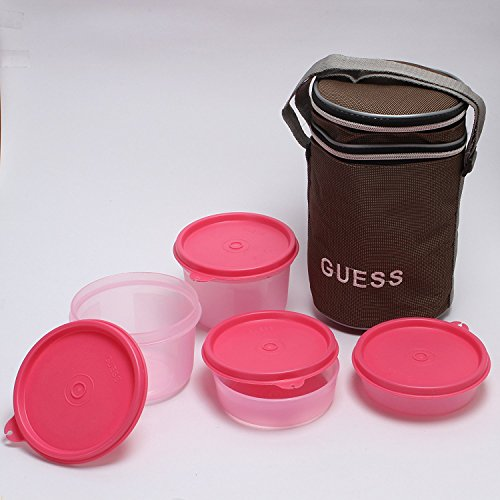 Guess Lunch On 4 Pcs round Brown Bag (baby pink)