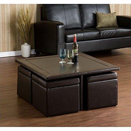 Southern Enterprises Nylo Storage Cube Table and Ottoman Set, Dark Chocolate Finish