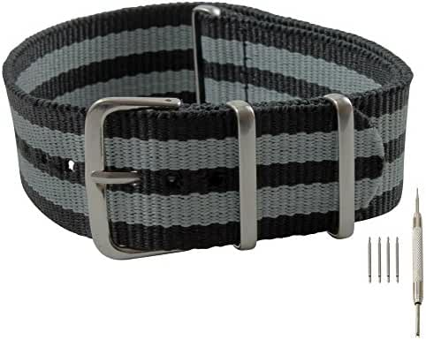 22mm Black and Gray James Bond Style Nylon Replacement Watch Strap with Free Installation Kit Including 4 Spring Bars and Removal Tool - [BWC]