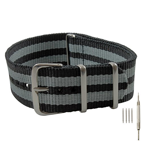 22mm-black-and-gray-james-bond-style-nylon-replacement-watch-strap-with-free-installation-kit-includ