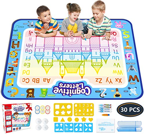 Jasonwell Aqua Magic Doodle Mat 39.5 X 31.5 Inches Extra Large Water Drawing Doodling Mat Coloring Mat Educational Toys Gifts for Kids Toddlers Boys Girls Age 2 3 4 5 6 7 8 Year Old