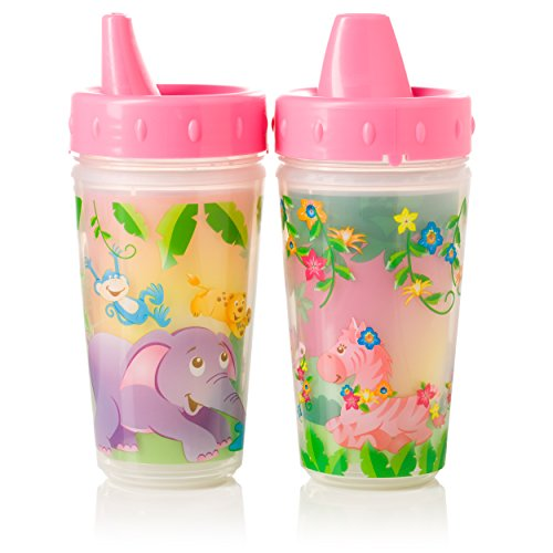 Evenflo Feeding Zoo Friends Insulated Sippy Cups for Baby and Toddlers - Pink, 10 Ounces (Pack of 2) ()