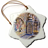 3dRose Danita Delimont - Spain - Spain, Andalusia, Seville. Traditionally decorated Plaza de Espana - 3 inch Snowflake Porcelain Ornament (orn_277896_1)