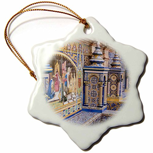 3dRose Danita Delimont - Spain - Spain, Andalusia, Seville. Traditionally decorated Plaza de Espana - 3 inch Snowflake Porcelain Ornament (orn_277896_1) by 3dRose