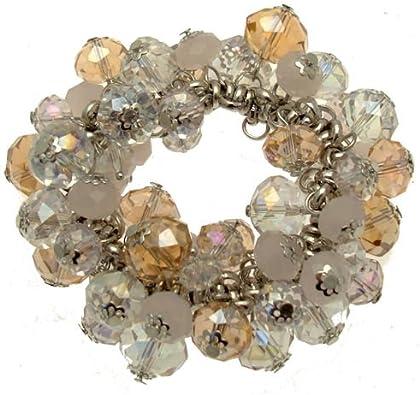 Acosta - Rose AB, transparente y rosa ópalo de cuentas de cristal Swarovski - (diseño elástico) de la pulsera del encanto