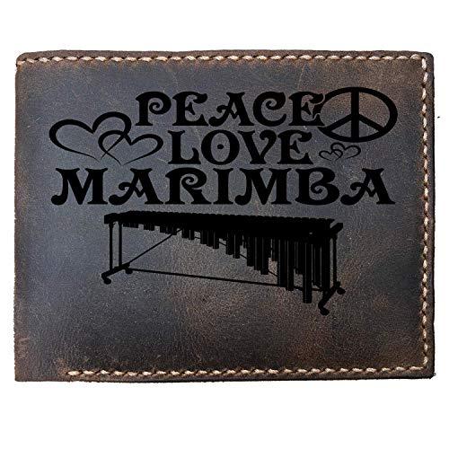 Lobsteray Peace Love Marimba Custom Laser Engraved Leather Bifold Wallet for Men Funny Marimba Lover - Custom Marimba