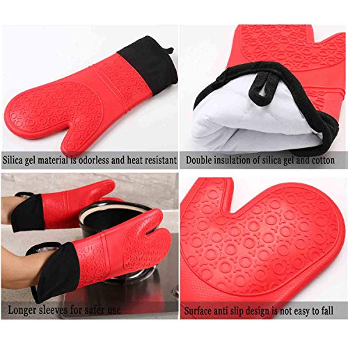 Oven Mitt Silicone Extra Long Heat Resistant Waterproof Non Slip Kitchen Gloves Gray 14.37 Inch 1 Pair