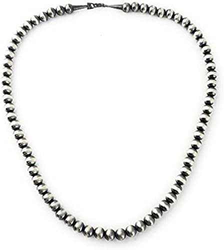 "28/"" Navajo Pearls Sterling Silver 6mm Beads Necklace"